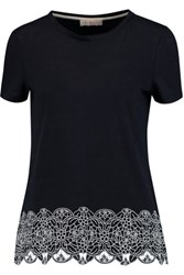 Tory Burch Malaya Embroidered Linen T Shirt Midnight Blue