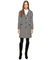 Kate Spade Novelty Yard Dyed Wool Coat 34 Black Cream Women's Coat