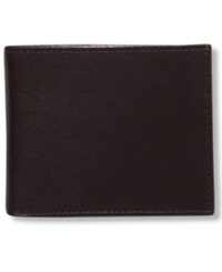 Tasso Elba Montana Italian Leather Slim Bifold Wallet Brown