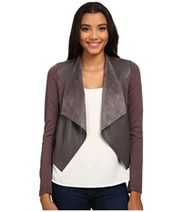 Kut From The Kloth Faux Leather Drape Jacket Pavement Women's Jacket Gray