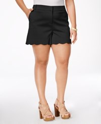 Stoosh Plus Size Scalloped Shorts Black