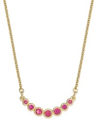 Kate Spade New York Gold Tone Bezel Set Crystal Necklace Pink