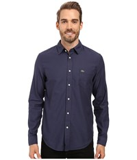 Lacoste Long Sleeve Pique Jacquard Pattern Woven Shirt Philippines Blue Navy Men's Clothing Multi