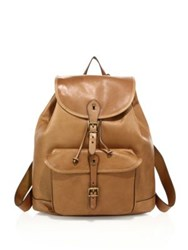 Polo Ralph Lauren Drawstring Leather Backpack Cognac
