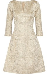 Oscar De La Renta Metallic Jacquard Dress Gold