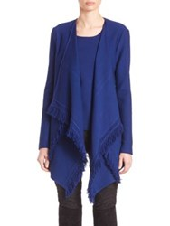 St. John Shawl Collar High Low Cardigan Caviar Prussian Blue