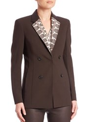 Akris Snakeskin And Leather Collar Wool Jacket Date