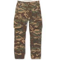 Neighborhood Camouflage Print Cotton Cargo Trousers Green