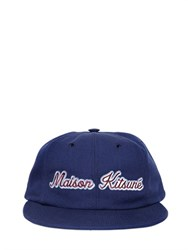 Maison Kitsune Logo Embroidered Cotton Blend Twill Hat