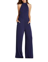 Bcbgeneration Flared Mockneck Jumpsuit Blue