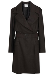 Hugo Boss Calirana Brown Wool Trench Coat Dark Brown