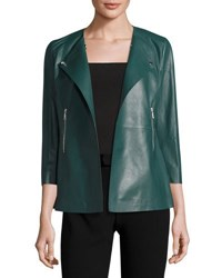 Lafayette 148 New York Dayle Leather 3 4 Sleeve Jacket Hemlock
