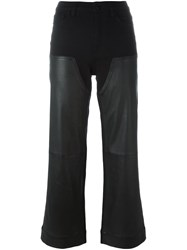Givenchy Leather Panel Cropped Trousers Black