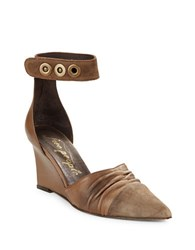 Free People Shadow Dancer Point Toe Wedge Heels Khaki