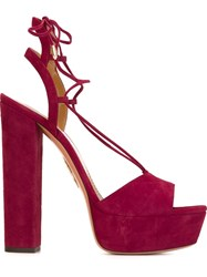 Aquazzura 'Austin' Platform Sandals Red