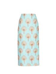 Stella Jean Moesto Embroidered Cotton Pencil Skirt