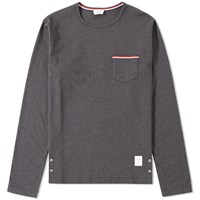 Thom Browne Long Sleeve Jersey Pocket Tee Grey