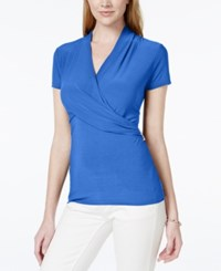 Charter Club Short Sleeve Crossover Wrap Top Only At Macy's Blazing Blue