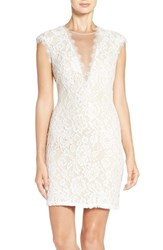 Aidan Mattox Women's By Open Back Lace Sheath Dress Ivory Nude