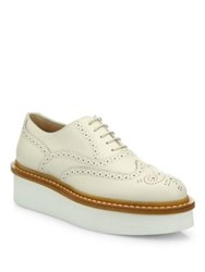 Tod's Brogue Leather Creeper Oxfords White Black