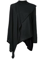 Max Tan 'Kasaya' Ribbed Turtleneck With Attached Asymmetric Cape Black