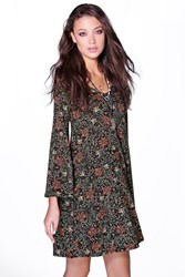 Boohoo Lilly Printed Wide Sleeve Deep V Dress Multi