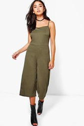Boohoo Strappy Ribbed Culotte Jumpsuit Khaki