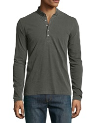 Ag Adriano Goldschmied Reverse Collar Henley Faded Black
