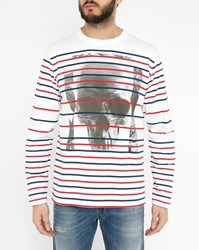 Diesel White T Joe Longs Hf Ls Sailor Stripe T Shirt