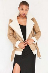 Silence And Noise Tough Hooded Aviator Jacket Tan