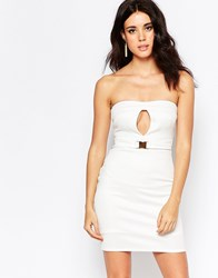 Oh My Love Belted Bodycon Dress With Keyhole Detail Cream