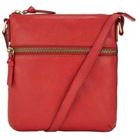 John Lewis Harriet Small Leather Across Body Bag Red