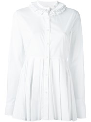Capucci Applique Collar Pleated Shirt White