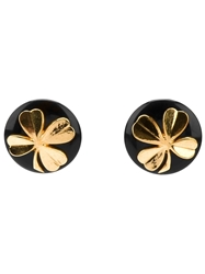 Chanel Vintage Clover Clip On Earrings Black