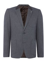 Peter Werth Men's Charter Textured Cotton Mix Blazer Navy