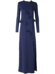 Lanvin Draped Detail Evening Dress Blue