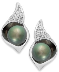 Macy's Cultured Tahitian Pearl 8Mm And Diamond Accent Stud Earrings In Sterling Silver