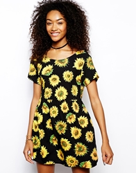 Motel Smock Dress In Sunflower Print