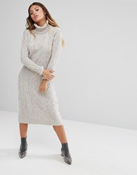 Fashion Union Roll Neck Maxi Dress In Textured Knit Dove Grey