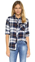Rails Hunter Long Sleeve Shirt Navy Ivory Flannel