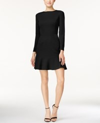 Bar Iii Long Sleeve Flounce Dress Only At Macy's Deep Black