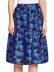 Mother Of Pearl Sydney Leaf Print Cotton And Silk Tiered Skirt Duo Leaf Blue
