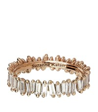 Suzanne Kalan Rose Gold Baguette Diamond Ring Female White