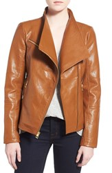 Women's Guess Asymmetrical Zip Faux Leather Jacket Cognac