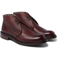Wool Lined Pebble Grain Leather Chukka Boots