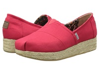 Bobs From Skechers Wedge Espadrille Memory Foam Red Women's Wedge Shoes