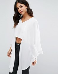 Love V Neck Top With Longline Sleeves Ivory Cream