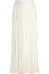 Givenchy Pleated Culottes In Ivory Silk Crepe De Chine
