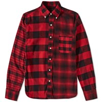 Beams Plus Button Down Crazy Check Shirt Red