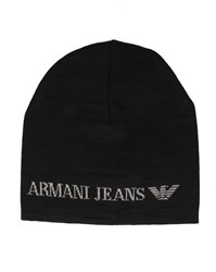 Armani Jeans Black And Grey Woollen Hat With Blue Aj Logo
